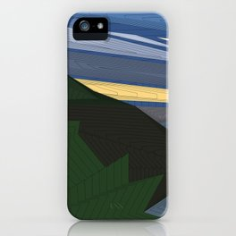 Psychedelic Magic landscap with stylised mountains, sea and yellow Sun. iPhone Case