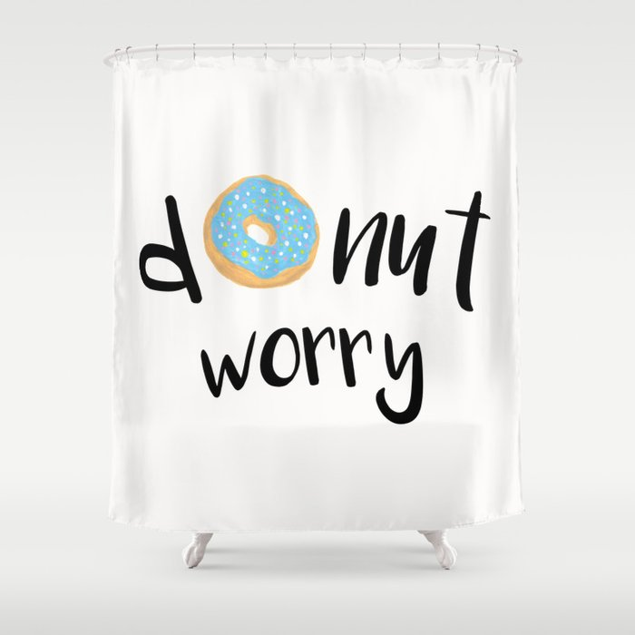 Donut Worry Blue Shower Curtain