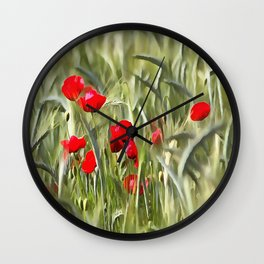 Corn Poppies Wall Clock