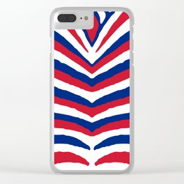 UK British Union Jack Red White and Blue Zebra Stripes Clear iPhone Case