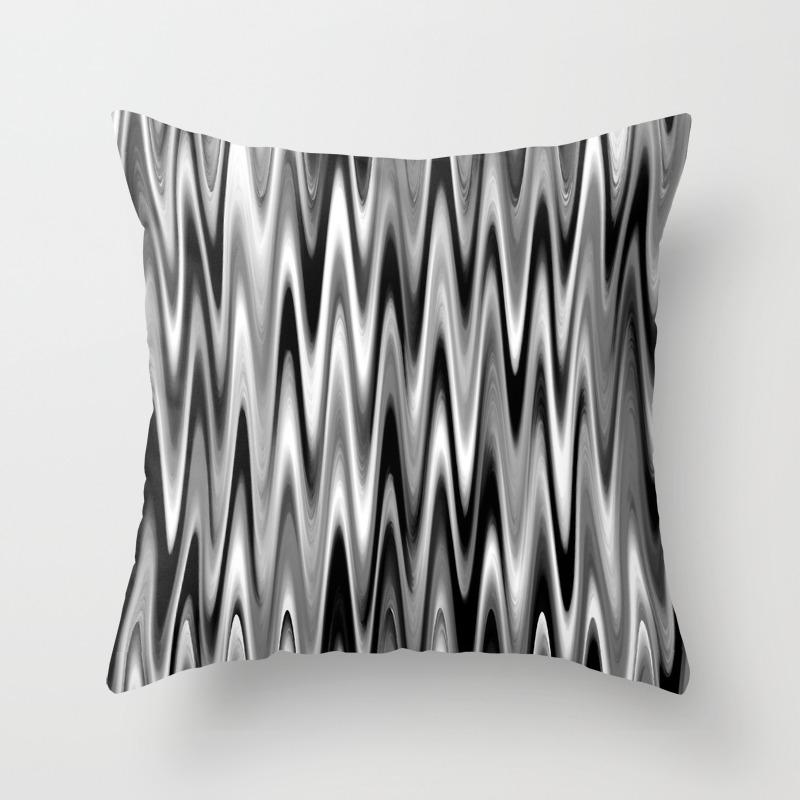 Wavy 1 Black White Grays Throw Pillow