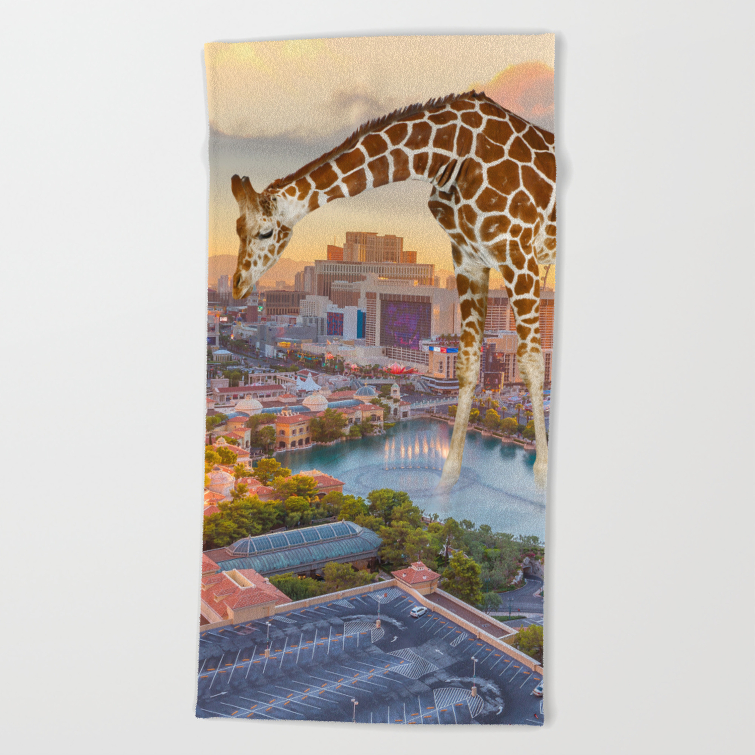 Giraffe In Las Vegas Beach Towel By