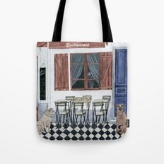 Sidewalk restaurant with blue doors Tote Bag