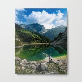 Person at mountain lake Metal Print