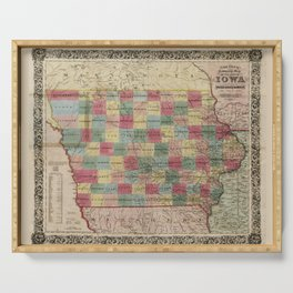 Colton's township map of the State of Iowa (1851) Serving Tray