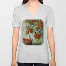 Chickadees and Apple Tree Harvest Unisex V-Neck
