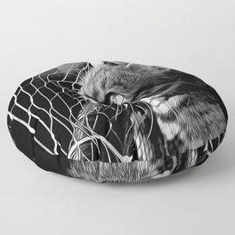 bengal cat yearns for freedom vector art black white Floor Pillow