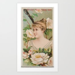 Bridal Rose  Happy Love, from the series Floral Beauties and Language of Flowers (N75) for Duke bran Art Print