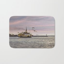Ferry on the bosphorus in the sunset Bath Mat
