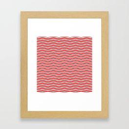 Australian Flag Red and White Wavy Chevron Stripe Framed Art Print