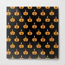 Cute Unicorn Pumpkin Black Funny Halloween Gifts Metal Print
