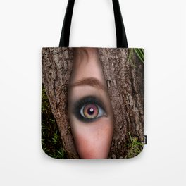 Beautiful Face trapped in a tree trunk Tote Bag