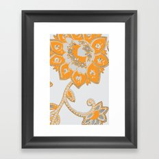 vintage paisley orange/grey Framed Art Print