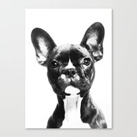 french bulldog Canvas Prints featuring French BullDog by Maioriz Home