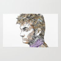 david tennant Area & Throw Rugs featuring David Tennant Dr. Who Text portrait by Mike Clements