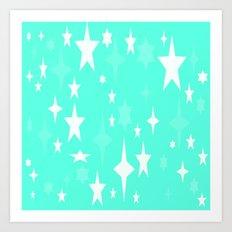 Seafoam Mint Stars Art Print