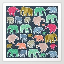 Elephants, Polka Dots, Zigzag (Chevron), Gingham Art Print