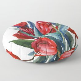 Red Tulips Floral Red,Turquoise Blue Artwork, garden tulips tulip lover design Floor Pillow