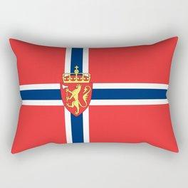 Flag of Norway Scandinavian Cross and Coat of Arms Rectangular Pillow
