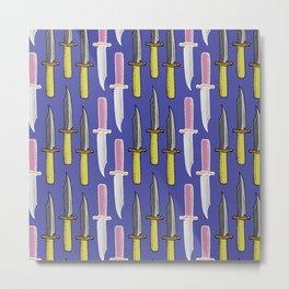 Double Knife Purple Pattern Metal Print