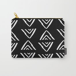 mudcloth 16 minimal textured black and white pattern home decor minimalist beach Carry-All Pouch