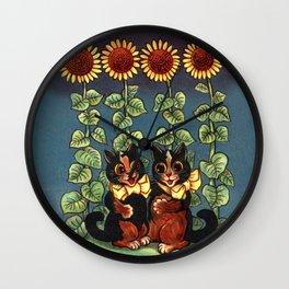Cats & Sunflowers - Louis Wain Cats Wall Clock