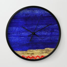 V24 New Blue Calm Traditional Moroccan Carpet Texture. Wall Clock