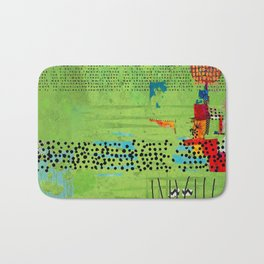 Red and Green Abstract Art Collage Bath Mat