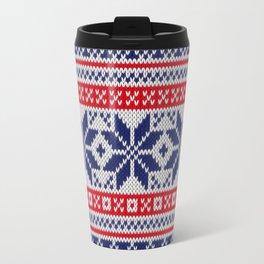 Winter knitted pattern 7 Travel Mug