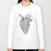 wooden Long Sleeve T-shirts featuring Wooden Heart by tvfer