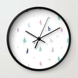 Little Boats By Samantha Woodford Wall Clock