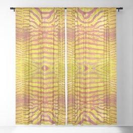 Zebra Stripes | Saffron Yellow & Apricot | Watercolor Animal Print Art Sheer Curtain