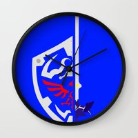 sword Wall Clocks featuring Sword & Shield by Danyul