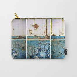 Rust on Blue and White Metal Triptych Carry-All Pouch