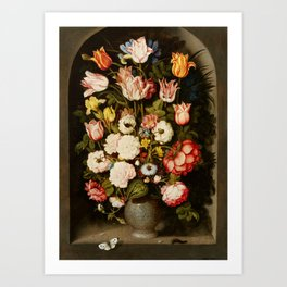 "Osias Beert ""Vase of flowers in a stone niche"" Art Print"