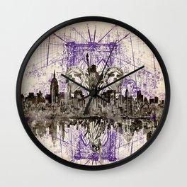 new york skyline collage Wall Clock