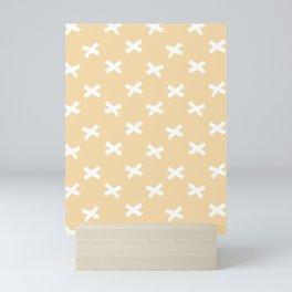 Minimalist X Cross Pattern - Sand Yellow Mini Art Print