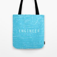 engineer Tote Bags featuring Engineer - BLUE by Be Raza