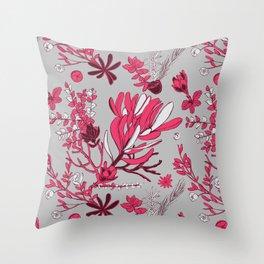 Fuchsia Cradle Flora Throw Pillow