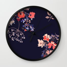 Colorful Night Roses Wall Clock