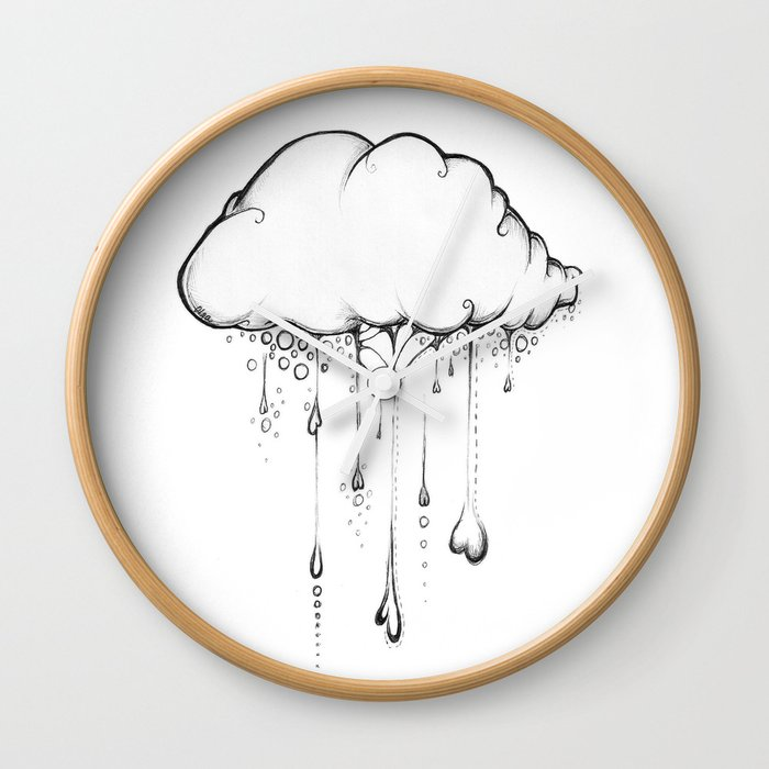 Happy Cloud Drawing Cute Whimsical Illustration Wall Clock By