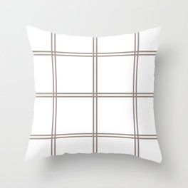 Brown checkered lines Throw Pillow