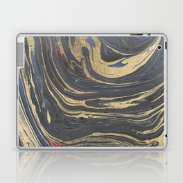 Abstract navy blue gray coral gold marble Laptop & iPad Skin