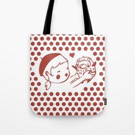 Girl and hedgehog, polka dots Tote Bag