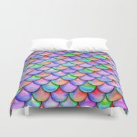 fairy tail Duvet Covers featuring colorful mermaid tail  by haroulita