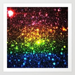 Rainbow Sparkle Galaxy Stars Art Print