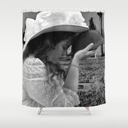Gilded Memorial Black and White Shower Curtain