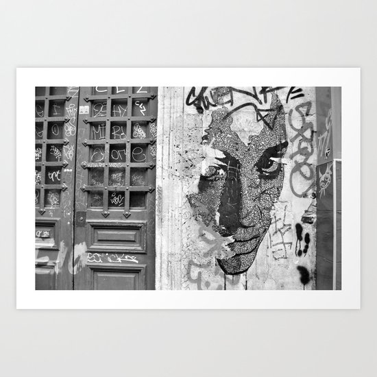 Paris, somewhere on a wall Art Print
