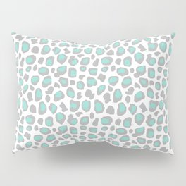 Leopard Animal Print Aqua Blue Gray Grey Spots Pillow Sham