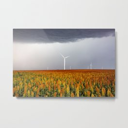 Maizy Day - Colorful Maize and Wind Turbines on Stormy Day in Kansas Metal Print